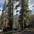 A peek at the Lake George Campground cabins.- Mammoth Crest Trail