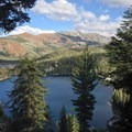 The first viewpoint overseeing Lake George.- Mammoth Crest Trail