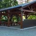 Communal cooking and eating area.- Porteau Cove Provincial Campground