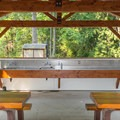 Sinks for clean up.- Porteau Cove Provincial Campground