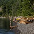 Wild pebbly beaches.- Porteau Cove Provincial Campground
