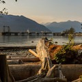 The beach access and view from a site in Porteau Cove Provincial Campground.- Porteau Cove Provincial Campground