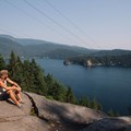 A much quieter spot to enjoy the view from the secondary lookout near the transmission line. - Quarry Rock