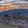 A fellow photograher capturing the sunset and looking toward the Cottonwood Ridge.- Lake Blanche Trail