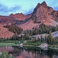 Sundial Peak (10,320') aglow at sunset.- Lake Blanche Trail