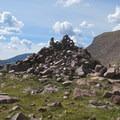 Large cairn on Gunsight Pass.- Kings Peak