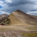 Nearing Anderson Pass, looking east toward West Gunsight Peak. The entrance to The Chute is visible here.- Kings Peak