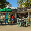 Concessions, lifeguard station, and restrooms.- Sunset Beach + English Bay