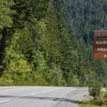 Park entrance on Highway 99.- Nairn Falls Campground