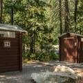 Vault toilets at Nairn Falls Campground.- Nairn Falls Campground