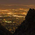 Bright city lights from the lookout.- Ferguson Canyon Trail Hike