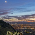 Crescent moon above the city.- Ferguson Canyon Trail Hike