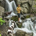 Enjoying one of the main waterfalls on the trail.- Ferguson Canyon Trail Hike