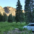 You know you've found a good campground when this is the view from the overflow parking area.- Albion Basin Campground