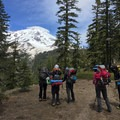 A climbing group takes in their first view of Mount Shasta.- Mount Shasta: Clear Creek Route