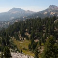 Looking out toward Brokeoff Mountain (9,235') from the trail.- Bumpass Hell