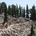 Hikers along the trail.- Bumpass Hell