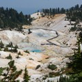 The first view of Bumpass Hell from the trail.- Bumpass Hell