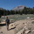 The hike back boasts views of Lassen Peak (10,463').- Bumpass Hell