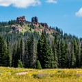 The peak often comes into view on the trail.- Rabbit Ears Peak