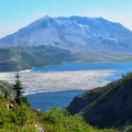 Mount St. Helens (8,366 ft) and Spirit Lake from Norway Pass.- Mount Margaret Backcountry Lakes