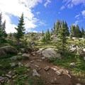 Climbing toward treeline.- Mount of the Holy Cross, North Ridge Route