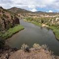 Looking north along the Colorado River toward the hot springs. - Radium Hot Springs