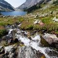 Glacial meltwater flowing down toward Ring Lake.- Ring Lake Trail