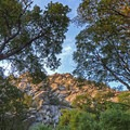 Sunset on the granite cliffs.- Ferguson Canyon Trail Hike
