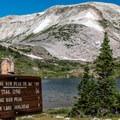 The trailhead and the goal!- Medicine Bow Peak via Lewis Lake Trailhead