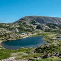 Looking down at Klondike Lake and Browns Peak from the saddle.- Medicine Bow Peak via Lewis Lake Trailhead