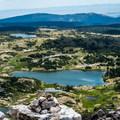 The trailhead down below.- Medicine Bow Peak via Lewis Lake Trailhead