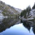 Dusk reflections.- Alpine Lake