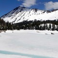Looking east across a frozen Crater Lake.- Crater Lake, Wallowas