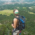 Atop the spine leading to the summit, high over Boulder.- First Flatiron