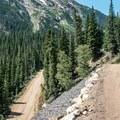 One of the many switchbacks on the old road.- Old Fall River Road