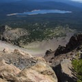 Long way down, Fourmile Lake in the background.- Mount McLoughlin