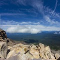 Watching the clouds rolling in from the summit.- Mount McLoughlin