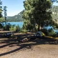 Lake view campsite.- South Shore Campground