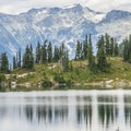 Rainbow Lake in the foreground with Blackcomb Mountain behind.- Rainbow Lake + Madeley Lake Hike