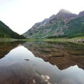 Maroon Bells reflection in Crater Lake. - Four Pass Loop