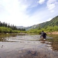 Creek crossing in Fravert Basin. - Four Pass Loop