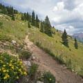 Ascending toward Trail Rider Pass.- Four Pass Loop
