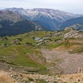 Looking back toward the small pond off of Trail Rider Pass.- Four Pass Loop