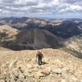 Scrambling near 13,500 feet. - La Plata Peak