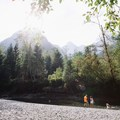 A small beach area along the creek.- Gold Creek Falls, Lower Falls Trail