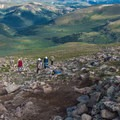 Trail crews hard at work improving the well-worn path.- Mount Bierstadt, West Slopes Route