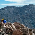 On the summit! With Mount Evans as a backdrop.- Mount Bierstadt, West Slopes Route