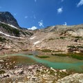 Turquoise water between Blue Lake and Upper Blue Lake.- Mitchell Lake + Blue Lake