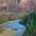 First glimpse of the falls.- Lower Calf Creek Falls